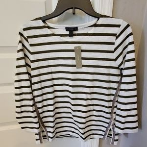 NWT J. Crew 3/4 sleeve sequin top olive and ivory